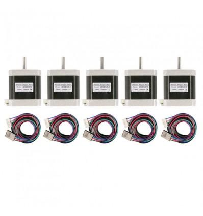 Pack 5 Motores NEMA 17 4.8 Kg/cm 67 OZ-IN