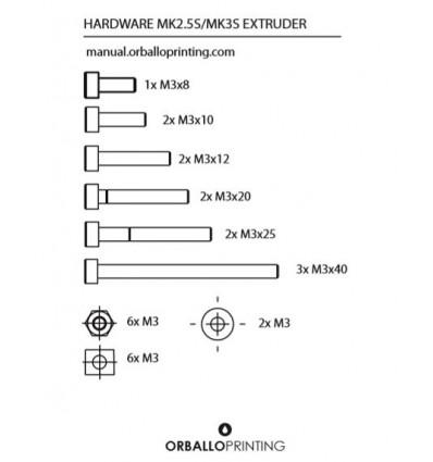 Hardware kit extruder MK2.5/MK3